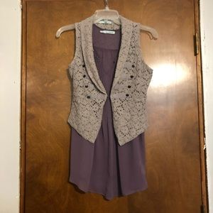 Maurice's Gray Vest and Purple Top
